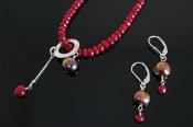 Rubies and Blue/Black Pearls, MatchingEarrings