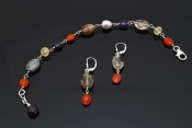 Rutilated Quartz, Amethyst and Carnelian Bracelet, MatchingEarrings