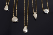 Brushed Sterling Forms on GoldChain