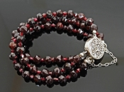 Faceted Triple Garnet Bracelet with MagneticClasp