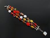 Triple Strand Red Gemstone, Pearl and Art GlassBracelet
