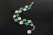 Turquoise with Green and White Freshwater CoinPearls