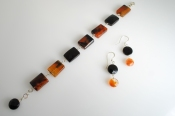 Tortoise Shell Agate and Faceted BlackOnyx