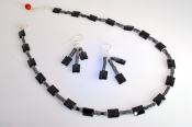 Cubed Hematite and OnyxNecklace