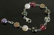 """Murano"" Bead and Coin PearlBracelet"
