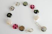 """Murano"" Art Deco Bracelet in Pink andBlack"