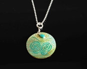 Etched Sea Shell and Turquoise Necklace