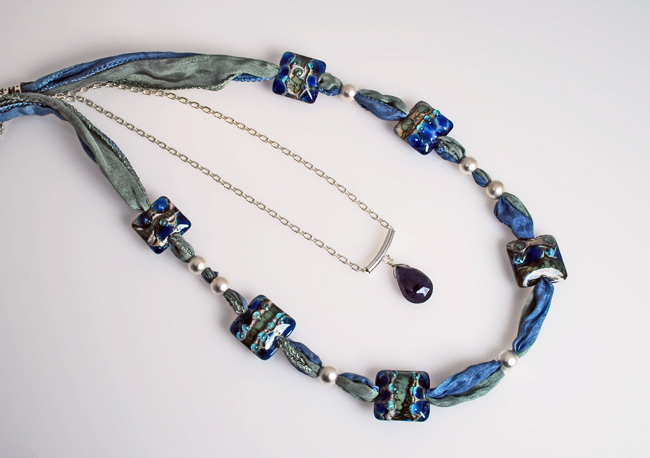 Silk & Lampwork Bead Necklace w/Iolite Solitaire